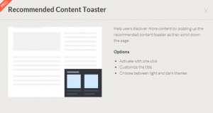 Content Toaster for Recommended Content