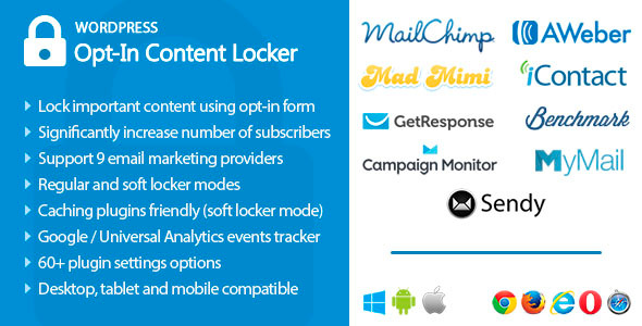 Email optin content locker